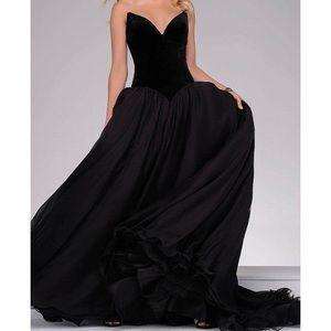 Jovani black ball gown velvet
